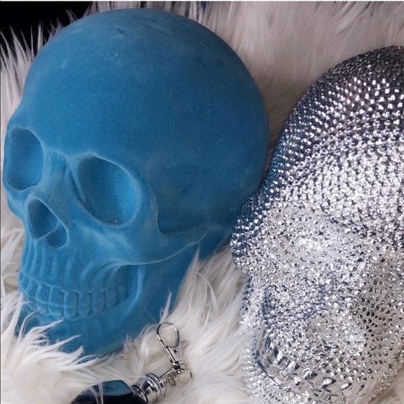 On Hold Sale Velvet Blue Skull Home Decor